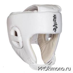 Шлем BFS модель - KYOKUSHINKAI открытый белый для карате Киокушинкай кандзи черный искусственная кожа