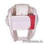 Шлем BFS модель - KYOKUSHINKAI открытый белый для карате Киокушинкай кандзи черный натуральная кожа