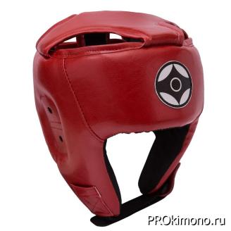 Шлем для карате Киокушинкай открытый красный канку черный искусственная кожа