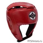 Шлем для карате Киокушинкай открытый красный канку черный натуральная кожа