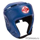 Шлем для карате Киокушинкай открытый синий канку красный натуральная кожа