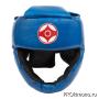 Шлем для карате Киокушинкай с закрытым подбородком и скулами синий канку красный искусственная кожа