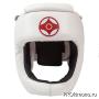 Шлем для карате Киокушинкай с защитой темени белый канку красный искусственная кожа