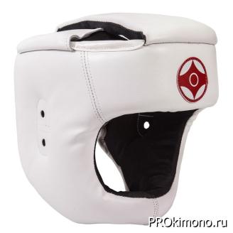 Шлем для карате Киокушинкай с защитой темени белый канку красный натуральная кожа