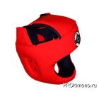 Шлем для карате Киокушинкай с защитой темени красный канку черный искусственная кожа