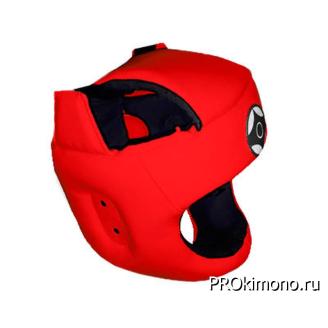 Шлем для карате Киокушинкай с защитой темени красный канку черный натуральная кожа
