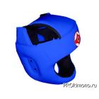 Шлем для карате Киокушинкай с защитой темени синий канку красный искусственная кожа