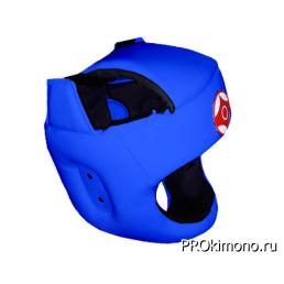 Шлем для карате Киокушинкай с защитой темени синий канку красный натуральная кожа