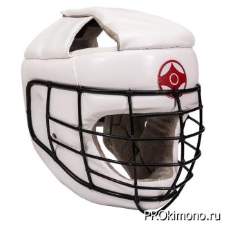 Шлем для карате Киокушинкай закрытый со стальной маской белый канку красный искусственная кожа