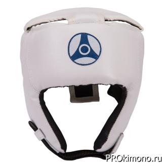 Шлем для карате Кёкусин-кан открытый белый канку синий искусственная кожа