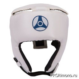 Шлем для карате Кёкусин-кан открытый белый канку синий натуральная кожа