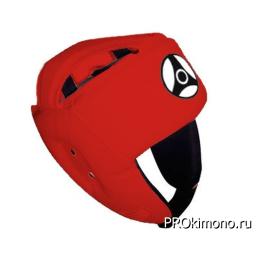 Шлем для карате Кёкусин-кан открытый красный канку черный натуральная кожа