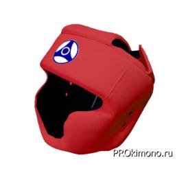 Шлем для карате Кёкусин-кан с закрытым подбородком и скулами красный канку синий искусственная кожа