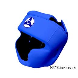 Шлем для карате Кёкусин-кан с закрытым подбородком и скулами синий канку синий натуральная кожа