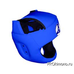 Шлем для карате Кёкусин-кан с защитой темени синий канку синий натуральная кожа
