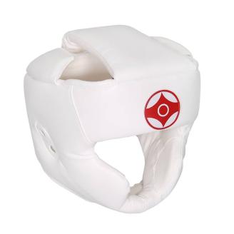 Шлем для карате Кёкусинкай детский с защитой подбородка и скул белый экокожа