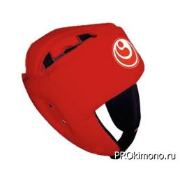 Шлем для карате Шинкиокушинкай открытый красный кокоро красный натуральная кожа