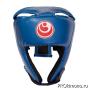Шлем для карате Шинкиокушинкай открытый синий кокоро красный искусственная кожа