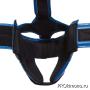 Шлем для карате Шинкиокушинкай открытый синий кокоро красный натуральная кожа