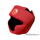 Шлем для карате Шинкиокушинкай с закрытым подбородком и скулами красный кокоро красный искусственная кожа