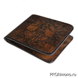 Кошелёк сувенирный символика каратэ Киокушинкай чёрный нат-кожа