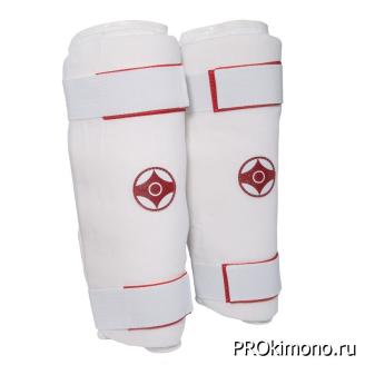 Защита голени детская для карате Киокушинкай белая канку красный хлопок