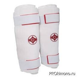 Защита голени для карате Киокушинкай белая канку красный хлопок