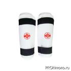 Защита голени для карате Киокушинкай белая канку красный искусственная кожа