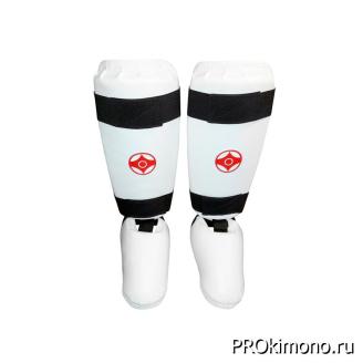 Защита голени и стопы детская для карате Киокушинкай белая канку красный искусственная кожа