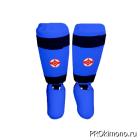 Защита голени и стопы детская для карате Киокушинкай синяя канку красный искусственная кожа