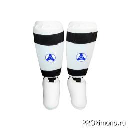 Защита голени и стопы детская для карате Кёкусин-кан белая канку синий искусственная кожа