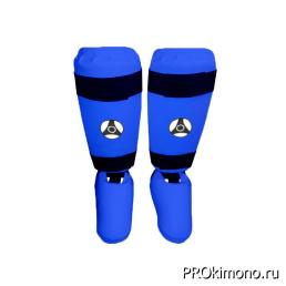 Защита голени и стопы детская для карате Кёкусин-кан синяя канку черный искусственная кожа