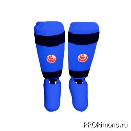 Защита голени и стопы детская для карате Шинкиокушинкай синяя кокоро красный искусственная кожа