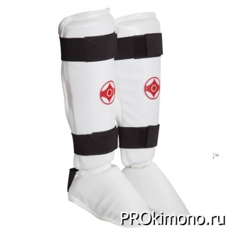 Защита голени и стопы детская сплошная для карате Киокушинкай белая канку красный искусственная кожа