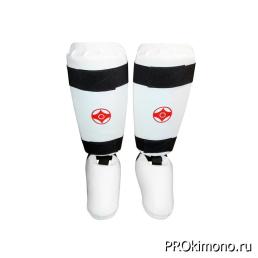 Защита голени и стопы для карате Киокушинкай белая канку красный искусственная кожа