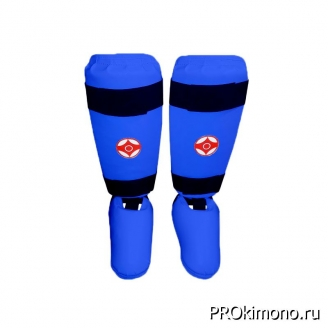 Защита голени и стопы для карате Киокушинкай синяя канку красный искусственная кожа