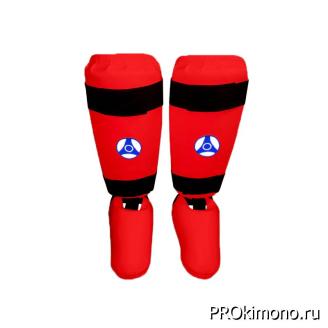 Защита голени и стопы для карате Кёкусин-кан красная канку синий искусственная кожа