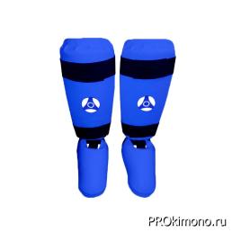 Защита голени и стопы для карате Кёкусин-кан синяя канку синий искусственная кожа