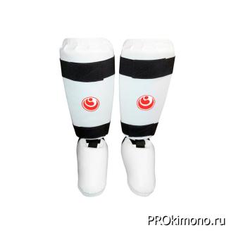 Защита голени и стопы для карате Шинкиокушинкай белая кокоро красный искусственная кожа