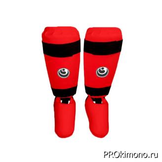 Защита голени и стопы для карате Шинкиокушинкай красная кокоро черный искусственная кожа