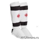 Защита голени и стопы сплошная для карате Киокушинкай белая канку красный искусственная кожа