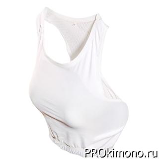 Защита груди для девушек белая спортивный трикотаж