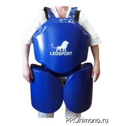 Защита корпус ноги для отработки серий синяя натуральная кожа