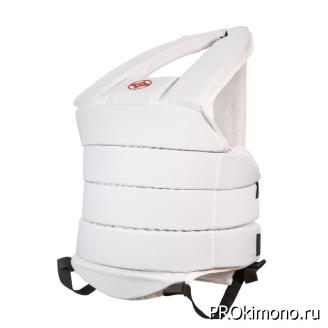Защитный жилет детский для карате Киокушинкай белый канку красный капрон
