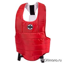 Защитный жилет детский для карате Киокушинкай облегченный красный канку черный капрон