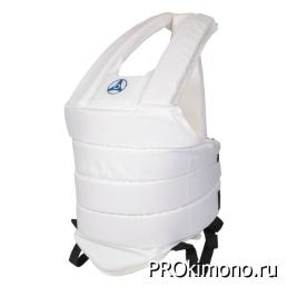Защитный жилет детский для карате Кёкусин-кан белый канку синий капрон