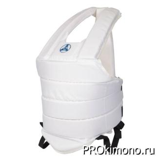 Защитный жилет для карате Кёкусин-кан белый канку синий капрон